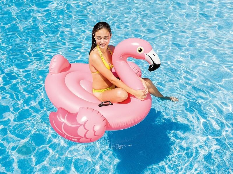 Pripučiamas flamingas baseinui su rankenomis. 142 x 137 x 97 cm